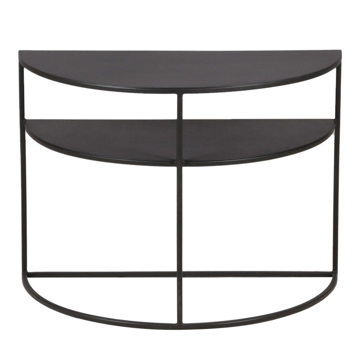 Bout de canapé métal noir en demi cercle