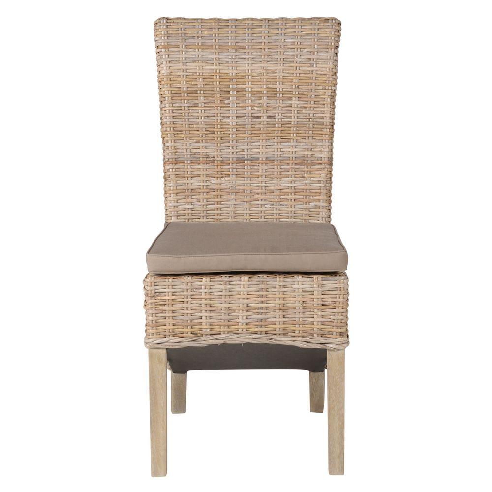 Chaise tressée demi pieds teck teinté lin