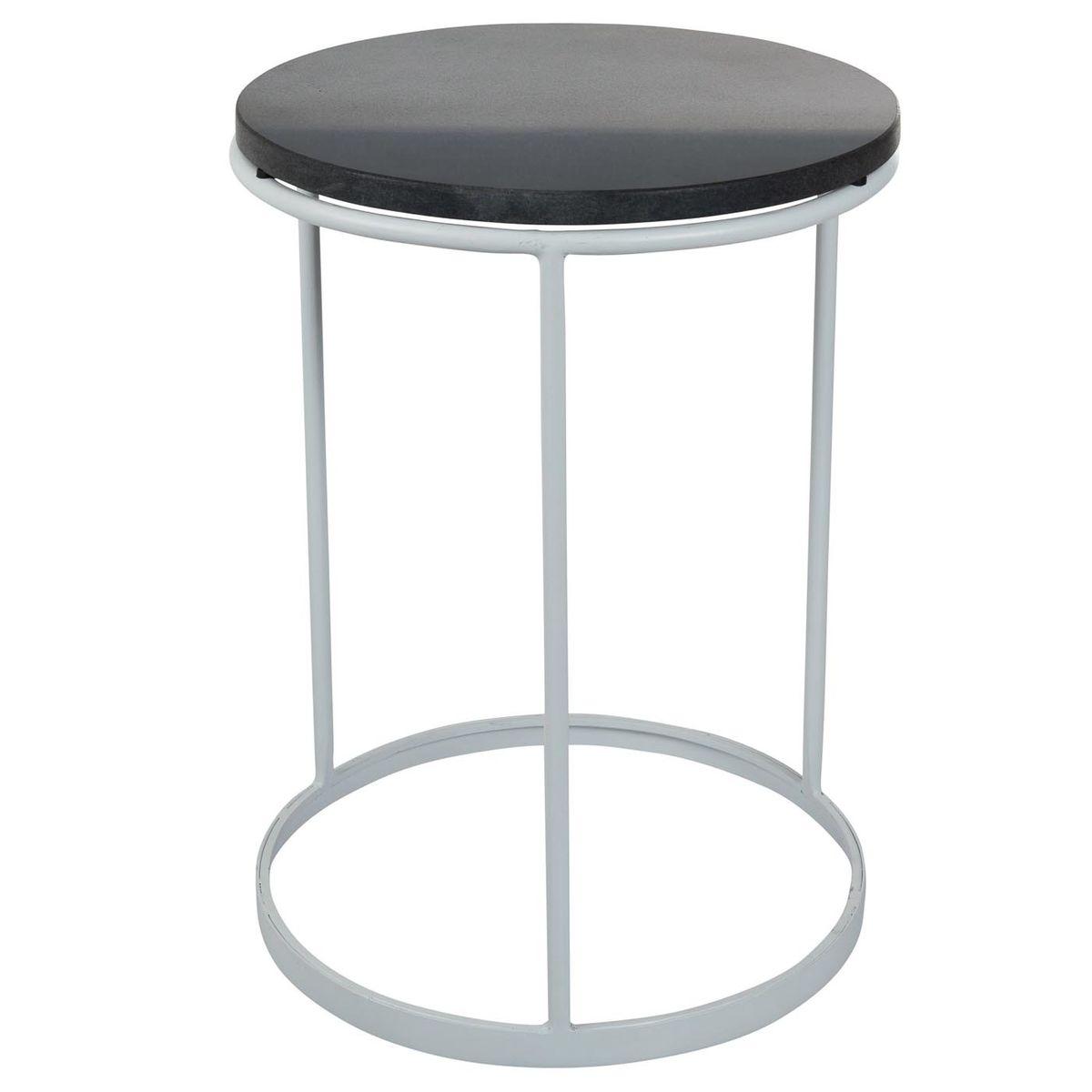 Table d'appoint marbre noir et métal blanc