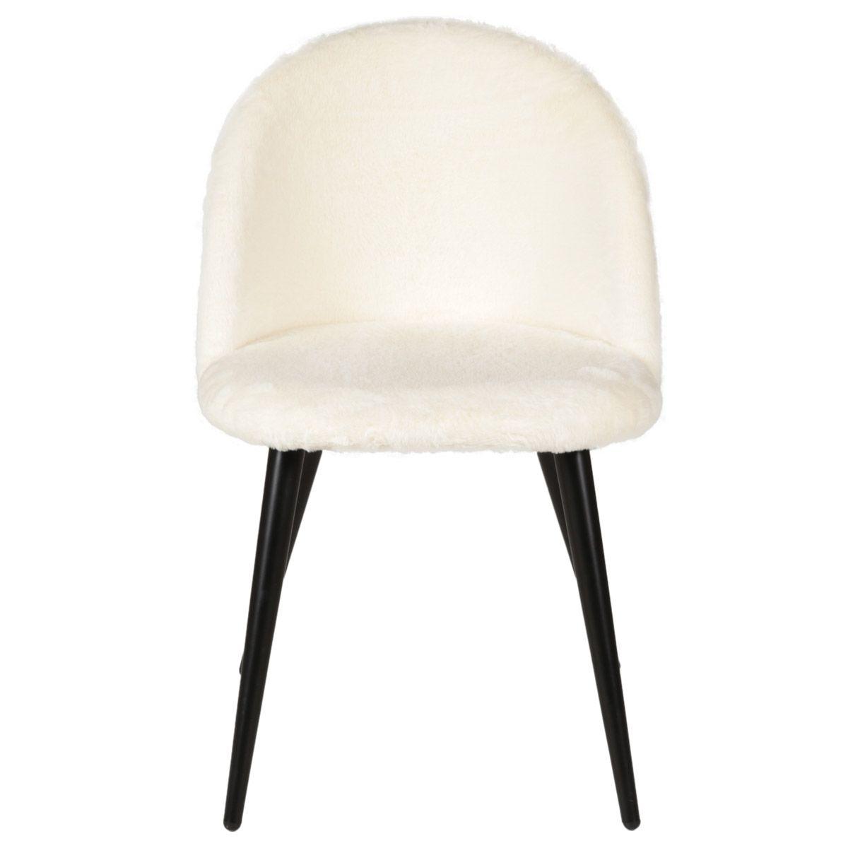 Chaise en fausse fourrure blanche et pieds métal noir