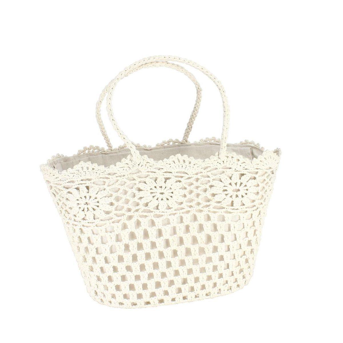Panier en crochet souple blanc