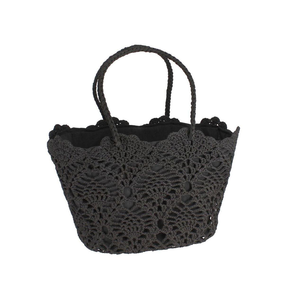 Panier en crochet souple noir