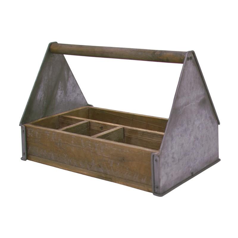 Style ancien panier en bois et zinc 30x45