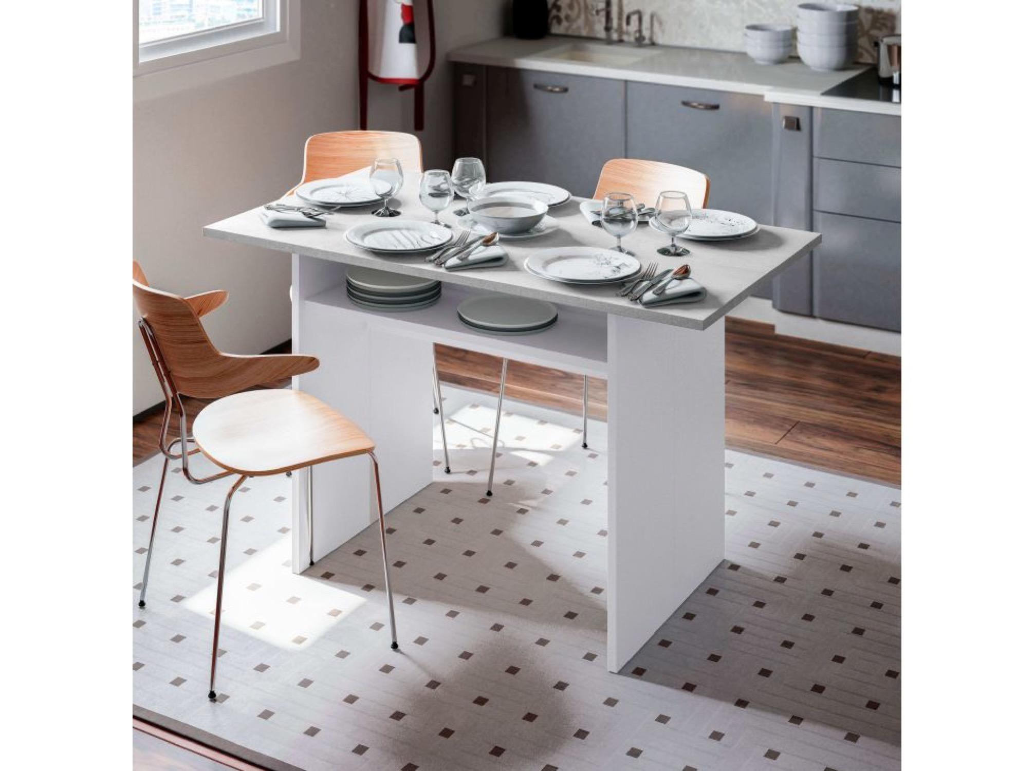 Table auxiliaire blanche/béton extensible L120 x P35/70cm