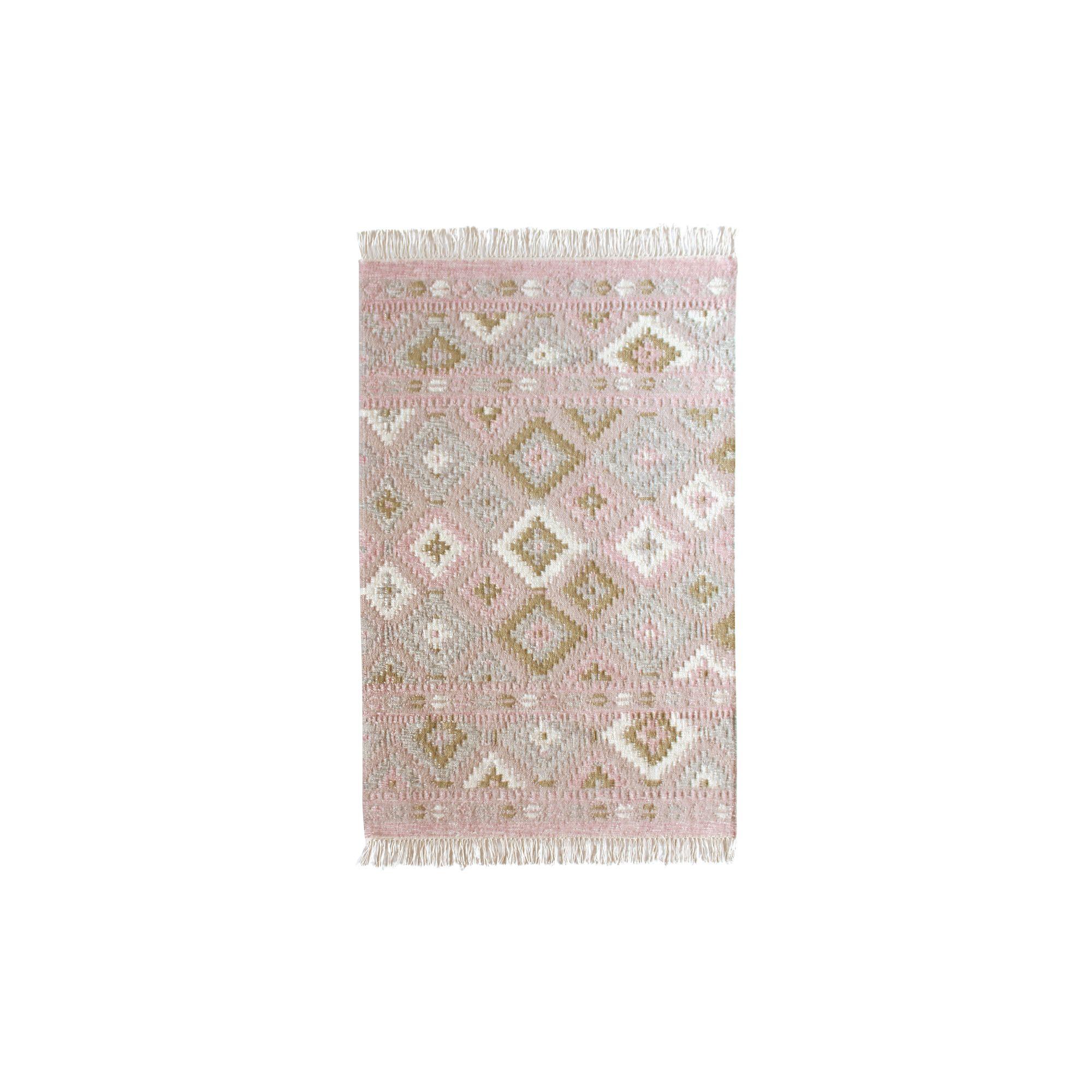 Tapis en jute laine et coton rose 150x100