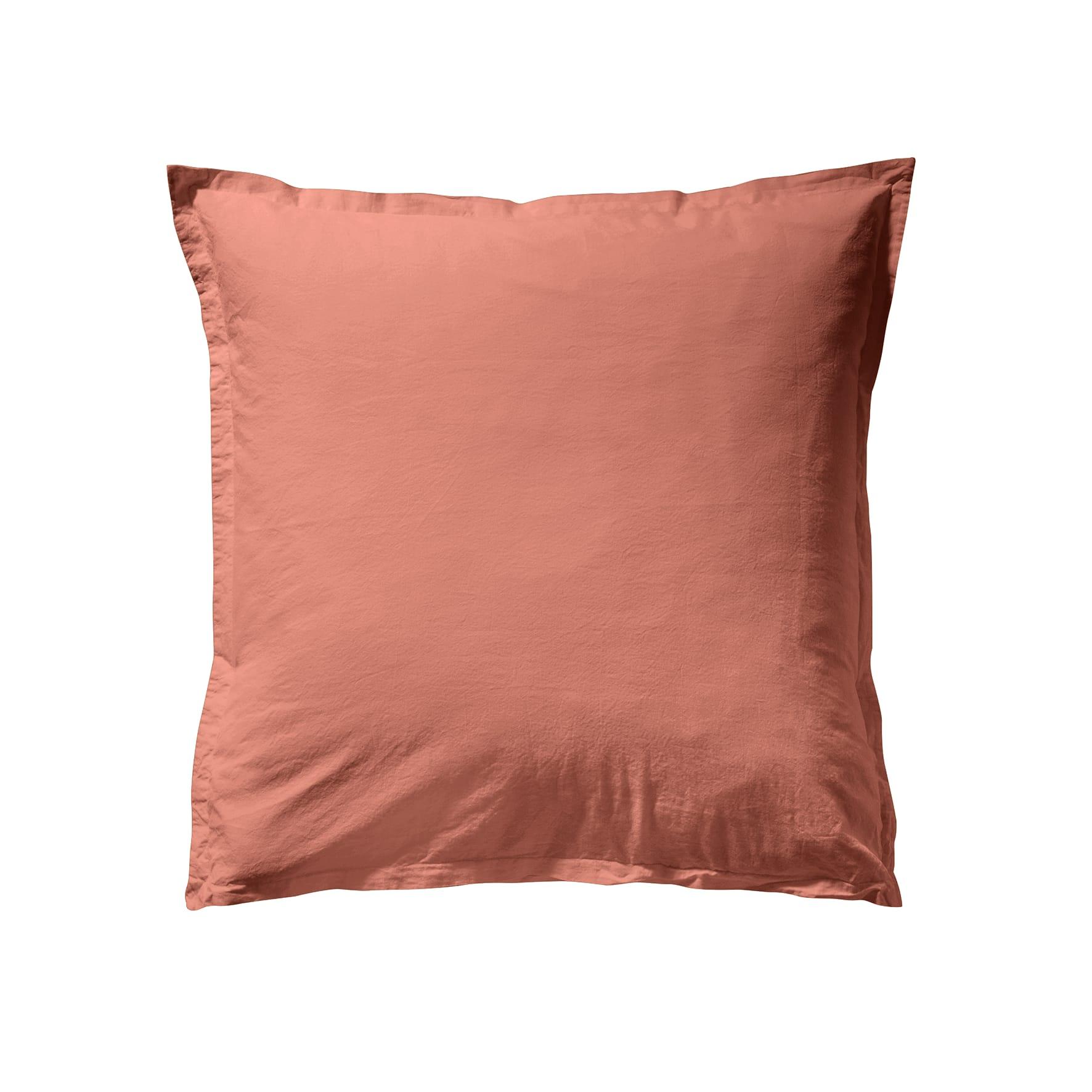 Taie d'oreiller unie en coton lavé Terracotta 65x65