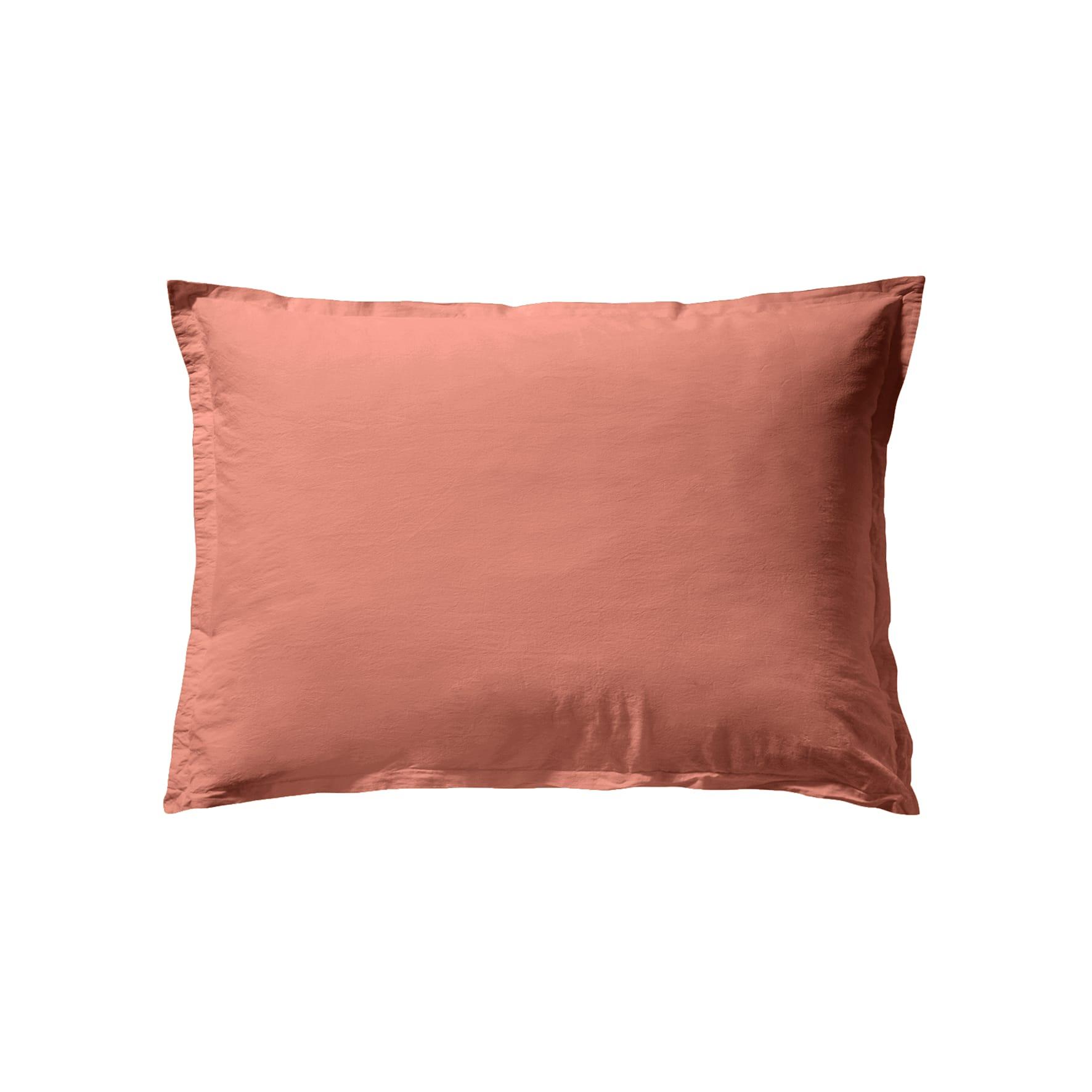 Taie d'oreiller unie en coton lavé Terracotta 50x70