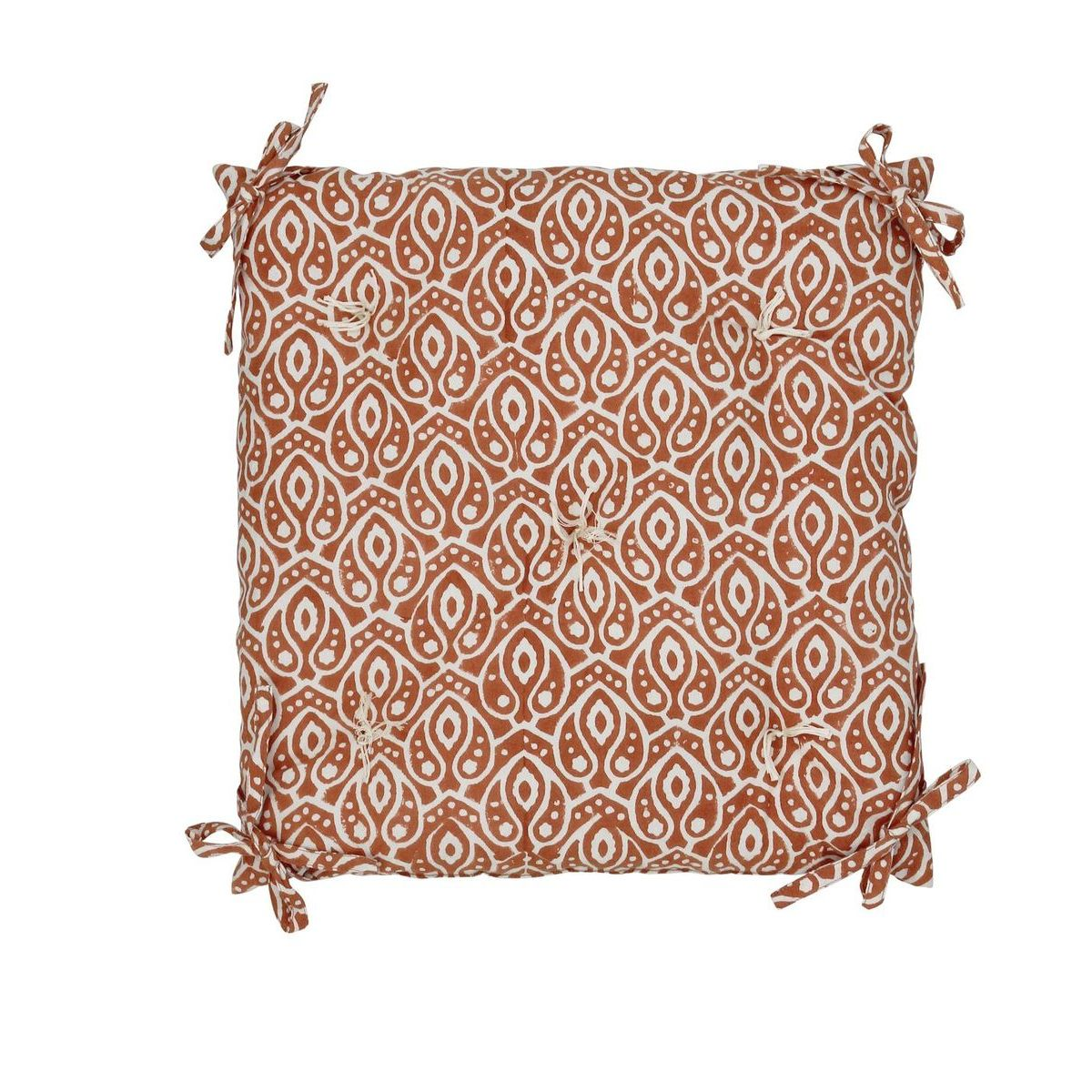 Galette de chaise en coton imprimé terracotta 40x40