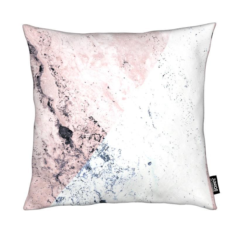 Coussin en microfibre en Blanc & Gris/30x30