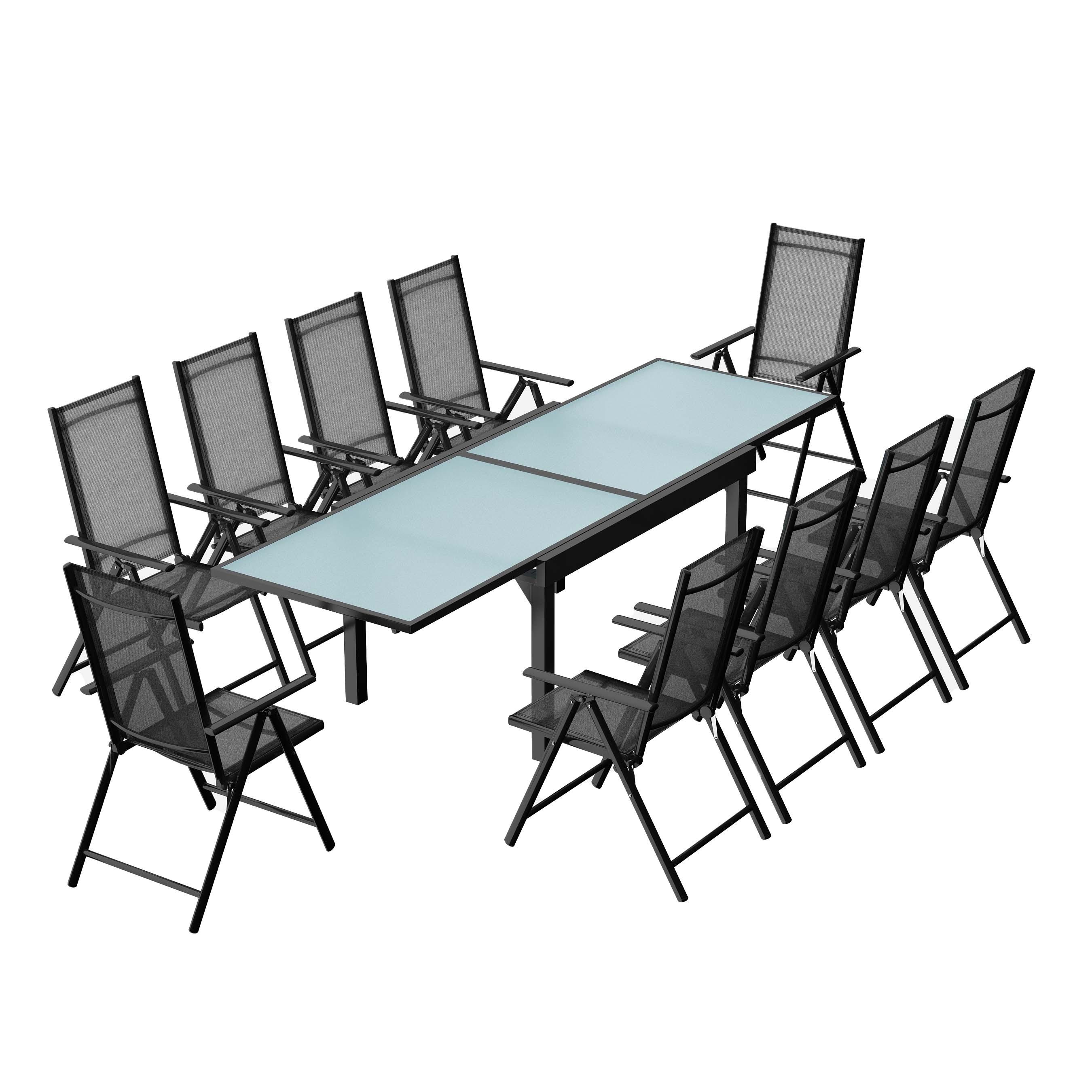 maison du monde Table de jardin extensible 10 fauteuils en alu et textilène