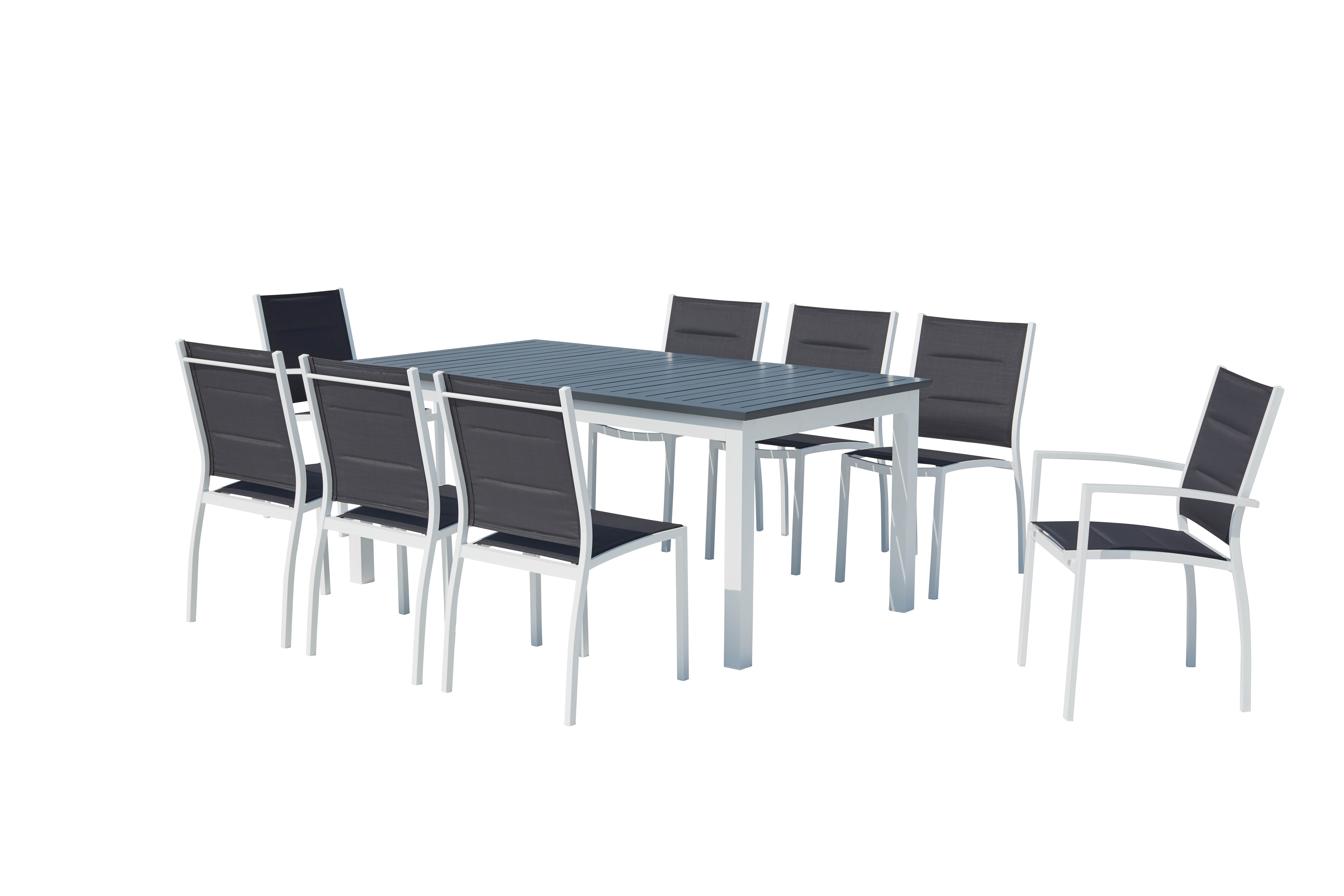 Table de jardin extensible et 8 chaises alu/textilène blanc