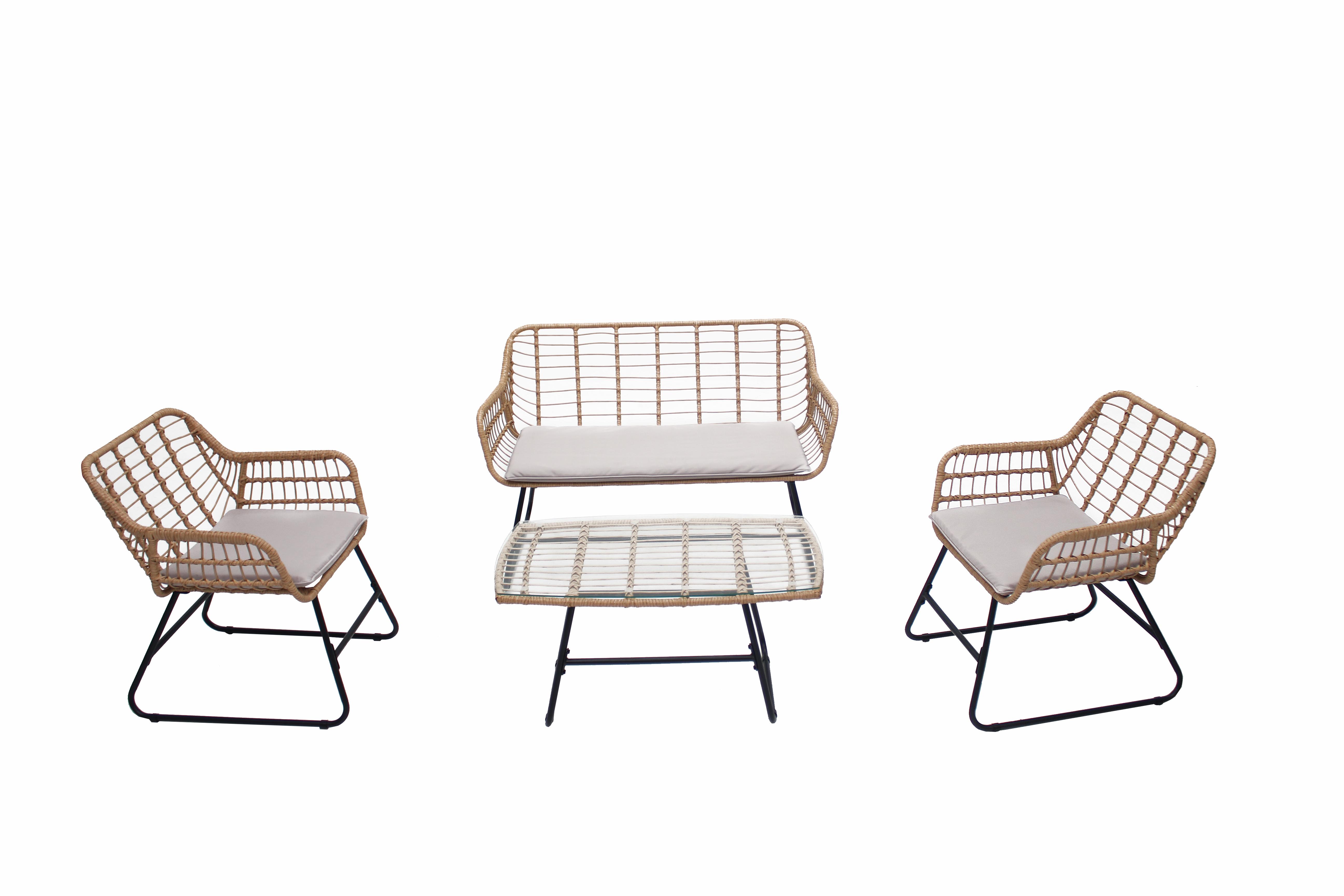 Salon de jardin 4 places en rotin et acier beige et noir