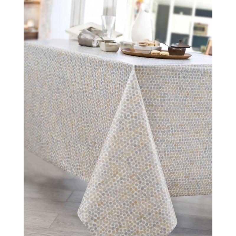 Nappe en coton enduit acrylique gris ronde 160 cm