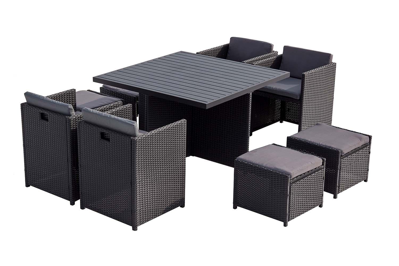Table et chaises 8 places encastrables alu et résin noir/gris