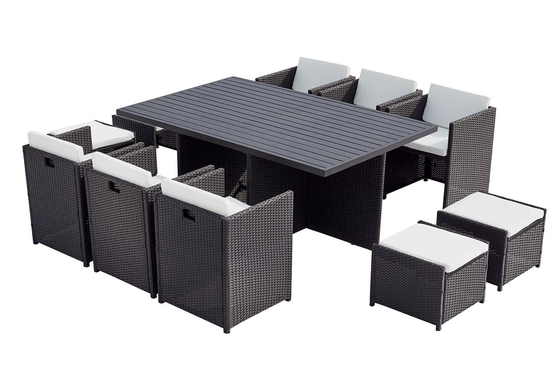 Table et chaise 10 places encastrables alu résine noir/blanc