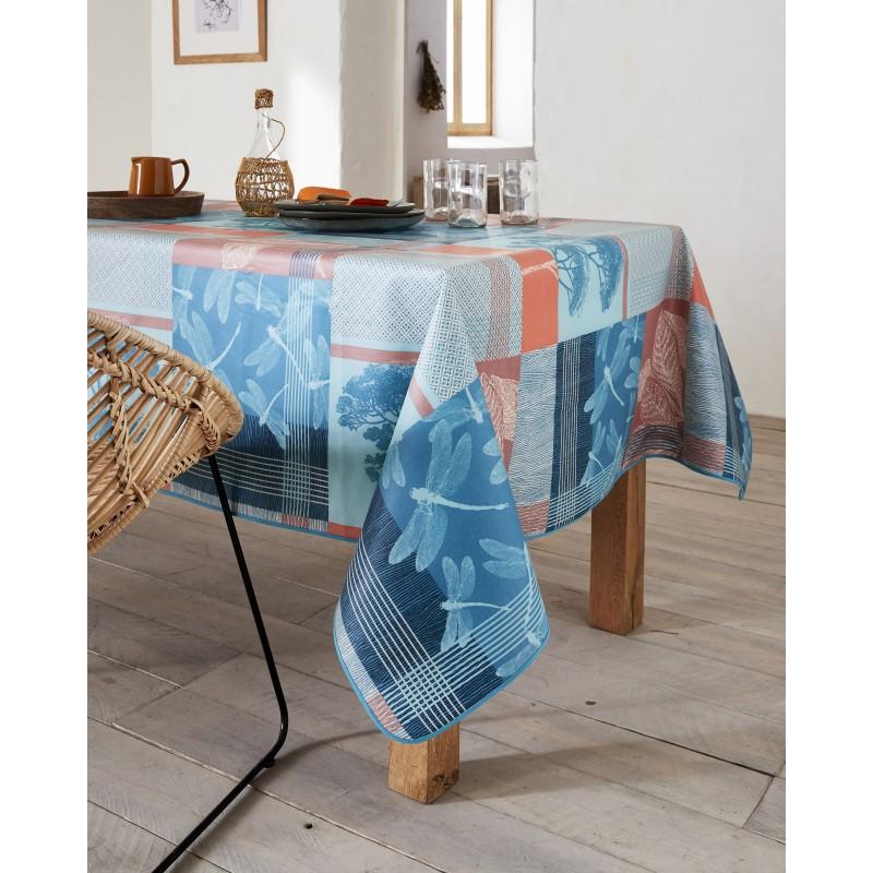 Nappe en coton enduit PVC corail ronde 160 cm