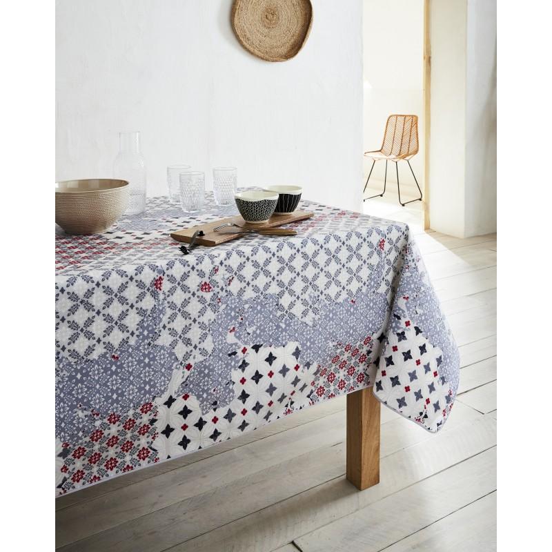 Nappe en coton enduit PVC rouge 160x250 cm