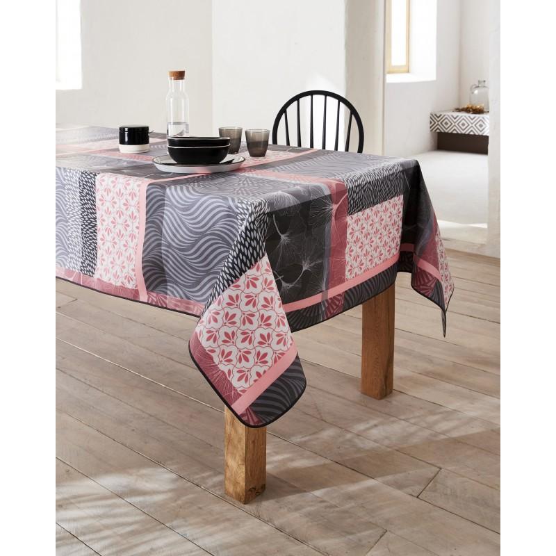 Nappe en coton enduit PVC rose gris ronde 160 cm