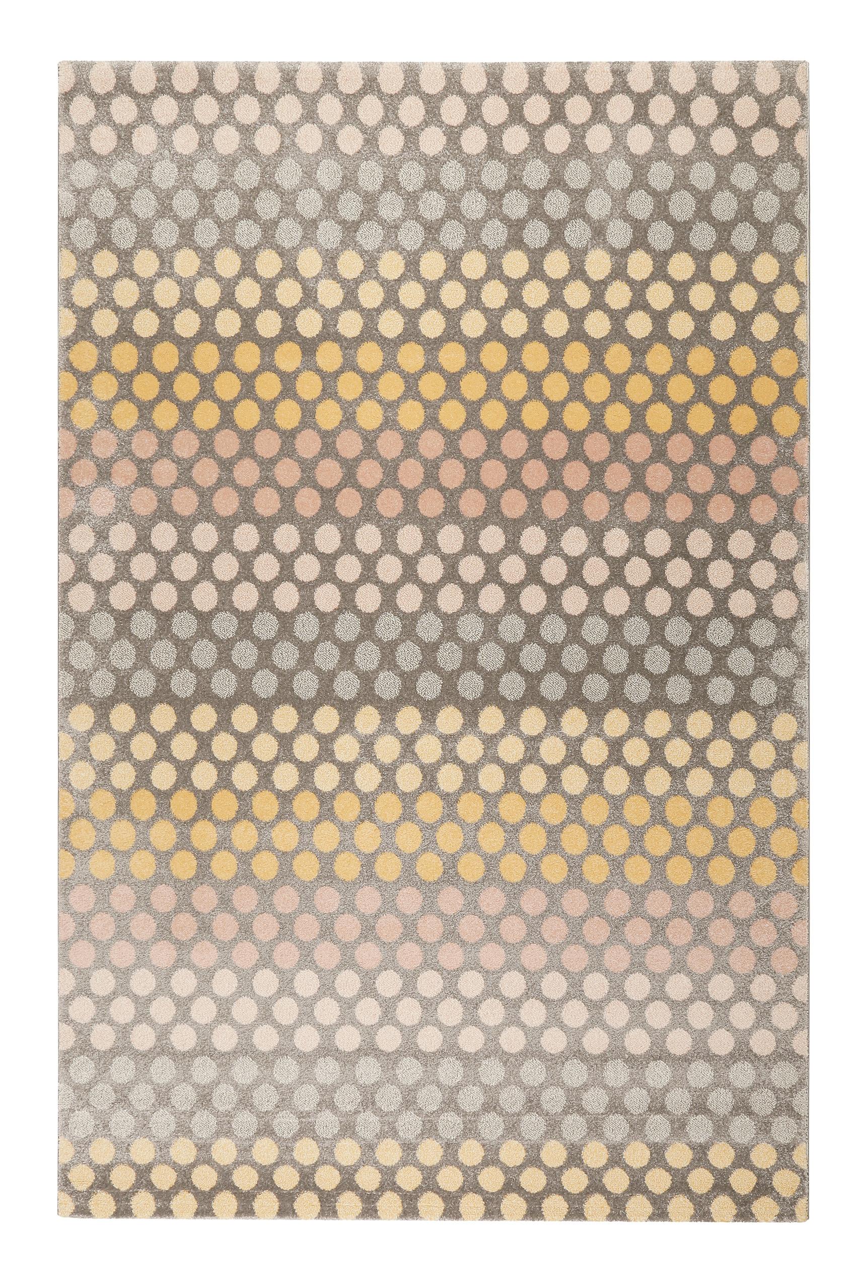 Tapis motif pois à poils courts tons chauds 200x133