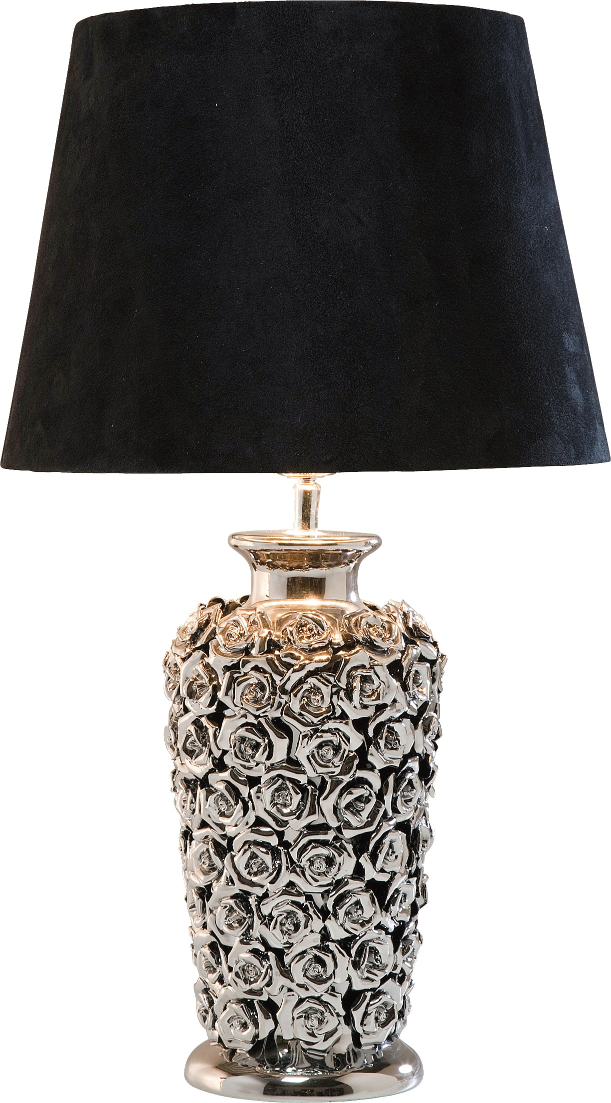 Lampe en céramique chromée et abat-jour noir