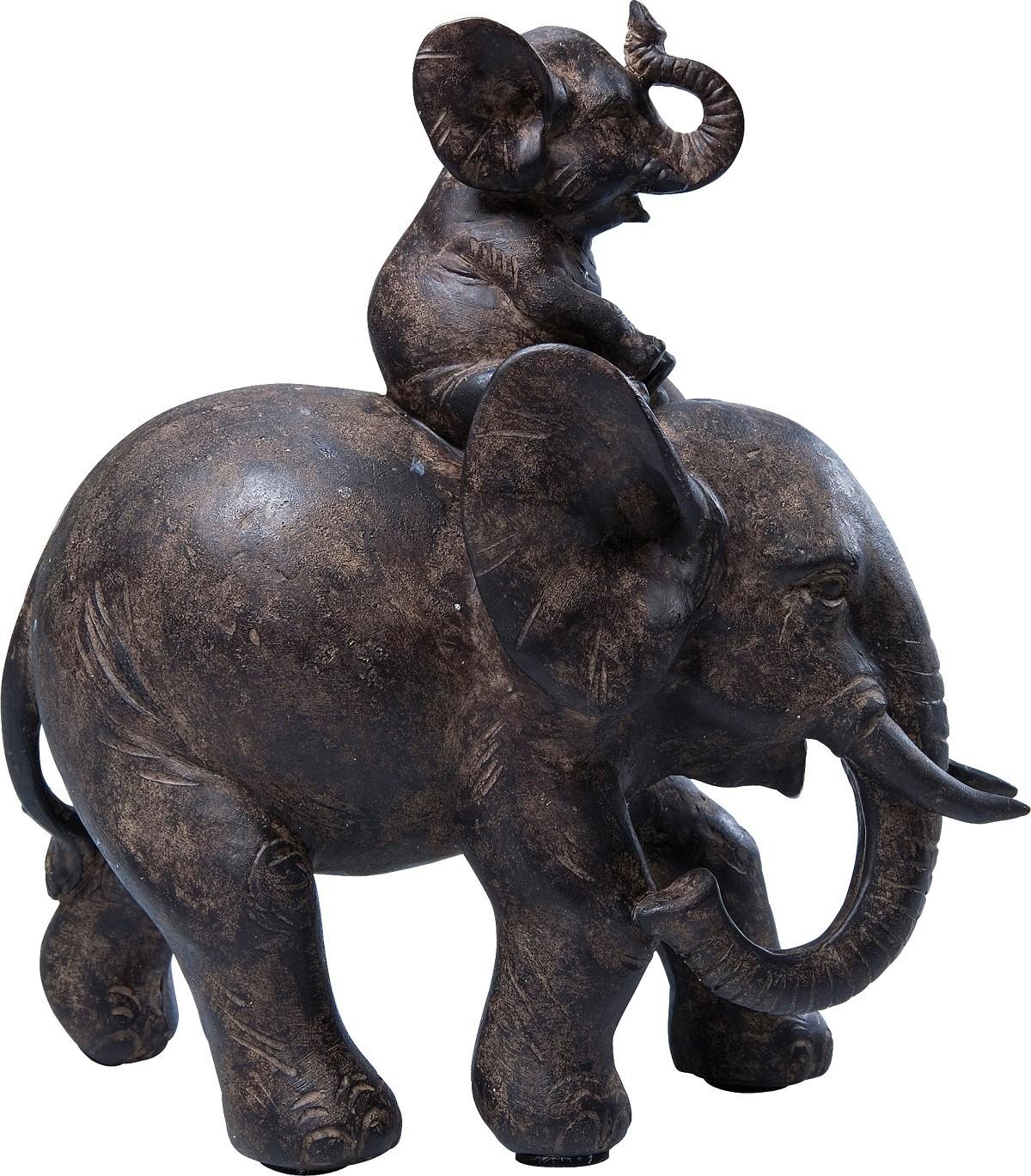 Statuette éléphants en polyrésine marron