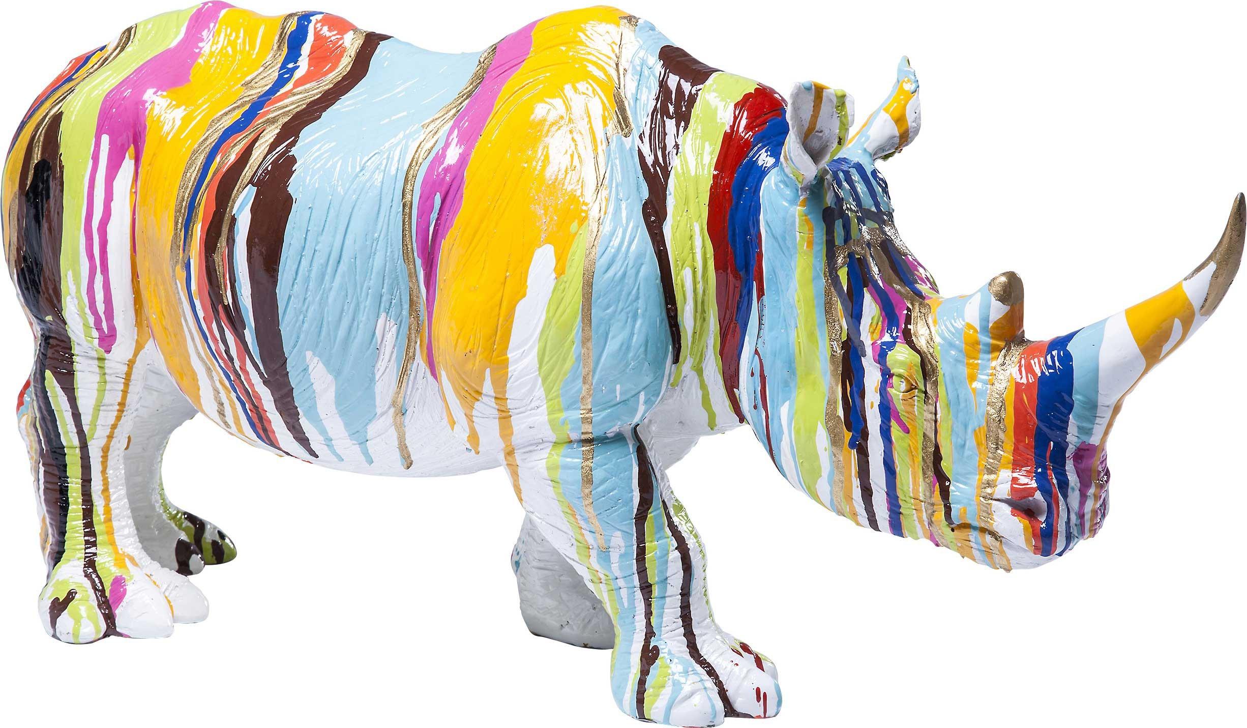 Déco Rhino blanc coulées de peinture