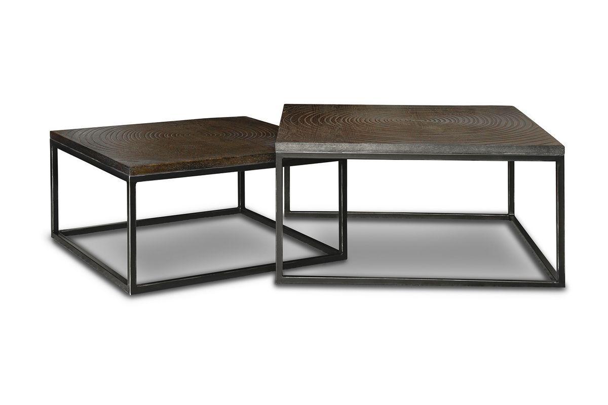 maison du monde Table basse gigogne en bois marron