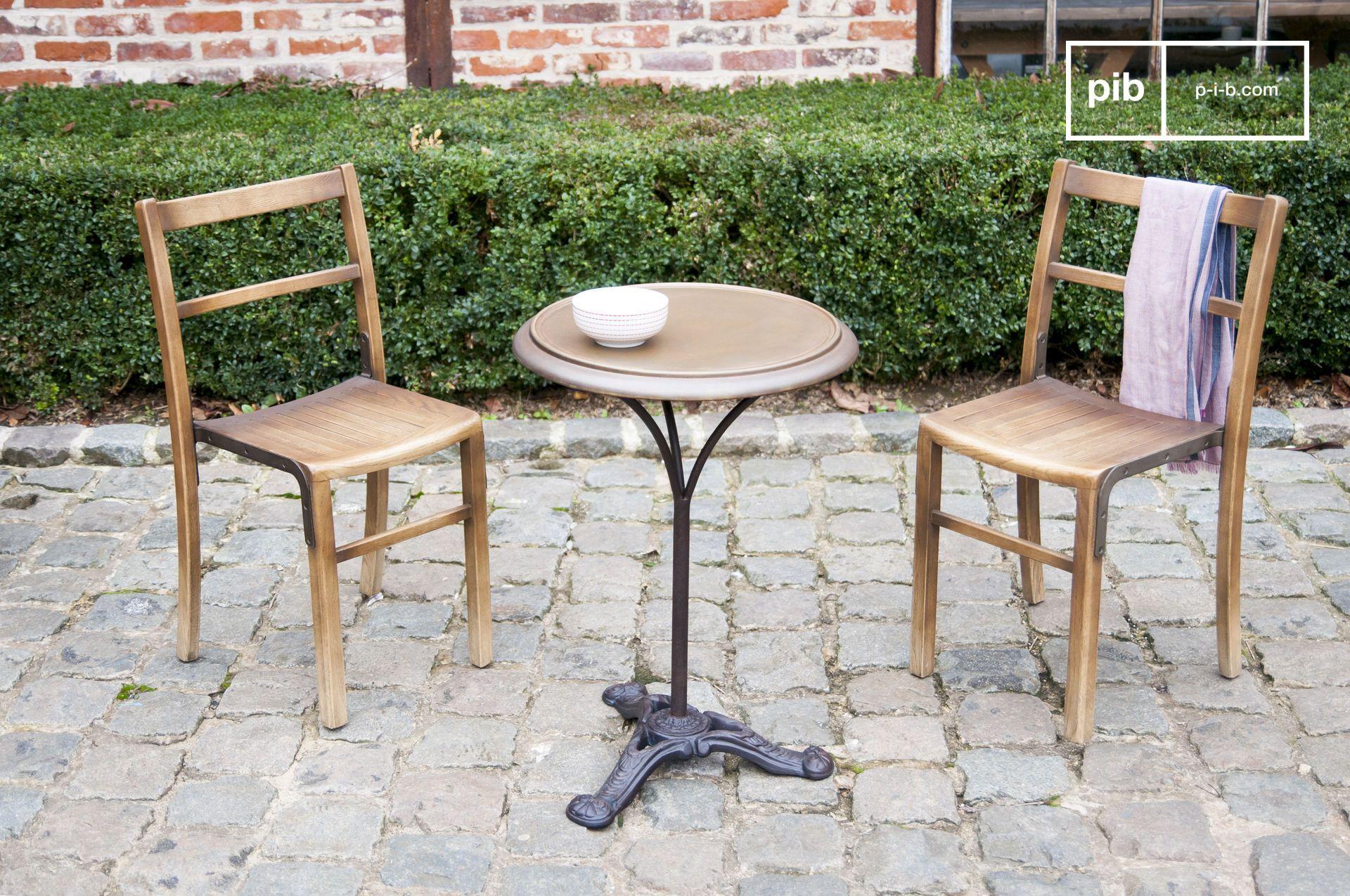 Table bistrot en métal marron