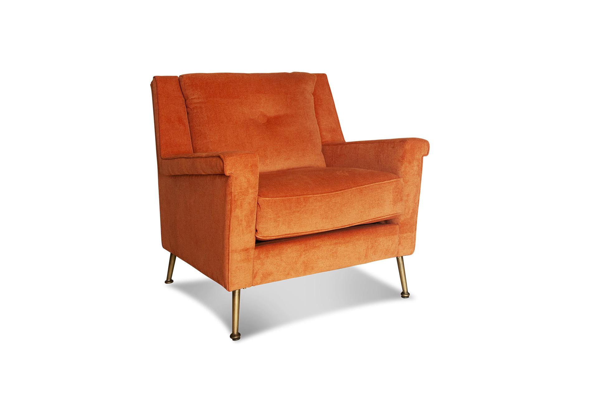 Fauteuil en velours orange