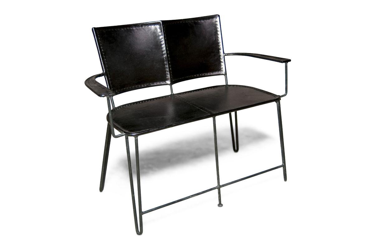 Double fauteuil en cuir noir