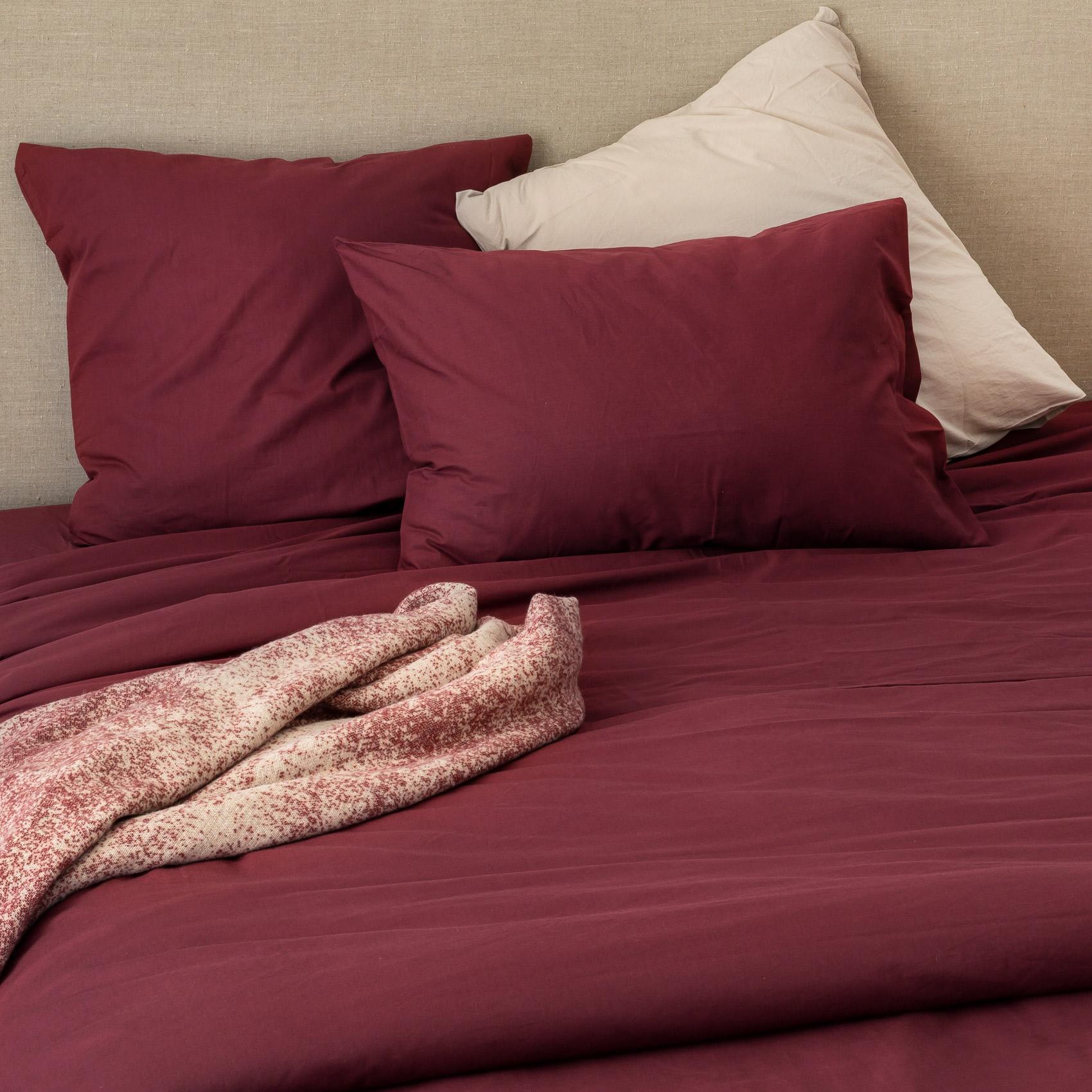 Taie d'oreiller en coton lavé coton griotte 65x65