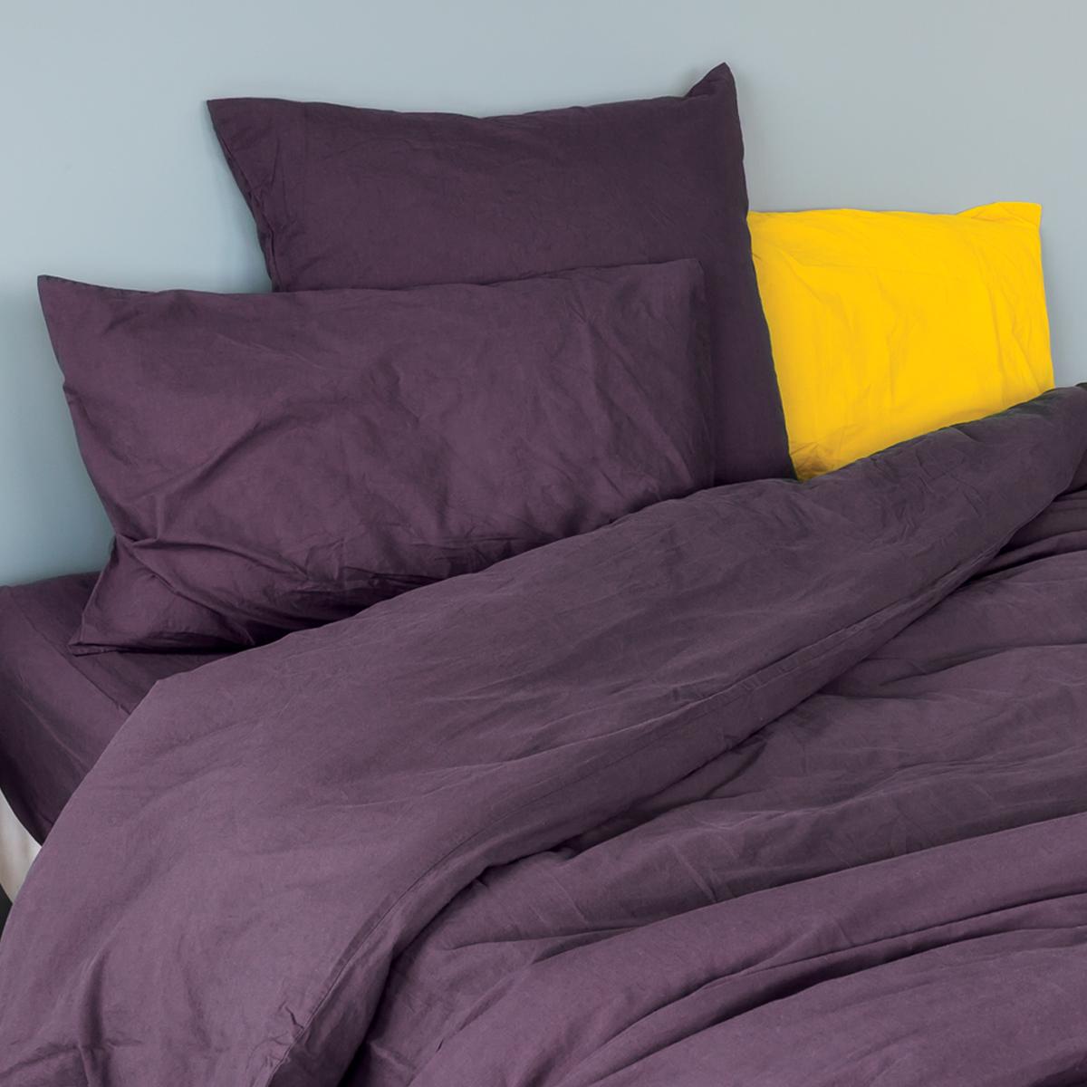 Taie d'oreiller en coton lavé coton figue 65x65