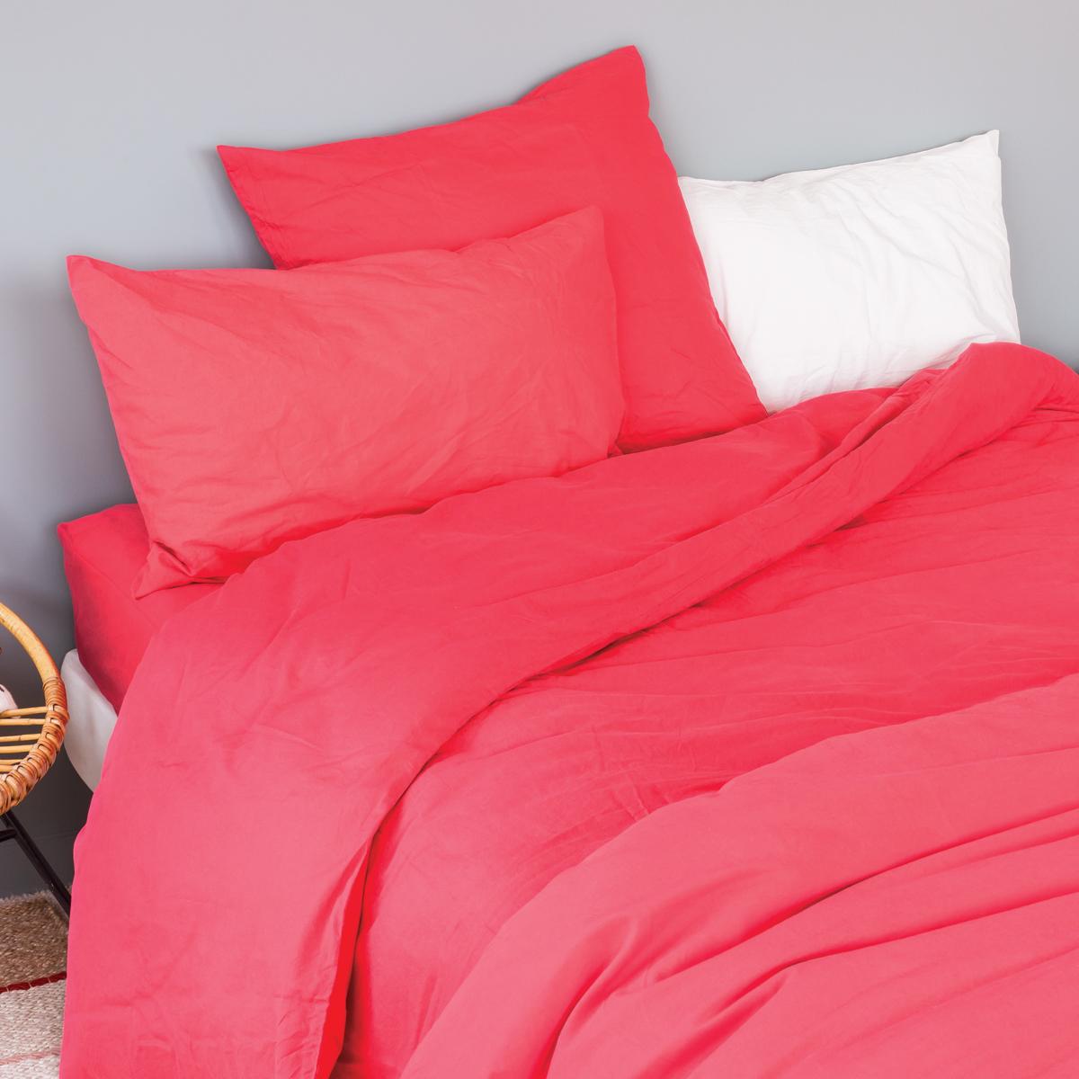 Taie d'oreiller en coton lavé coton groseille 65x65