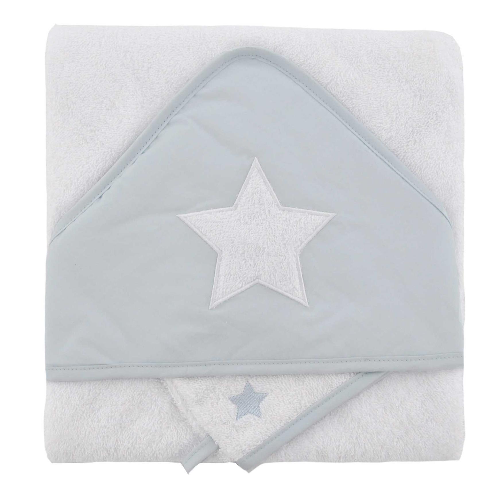 Coffret sortie de bain brodée + gant étoile coton gris 75x75 (photo)