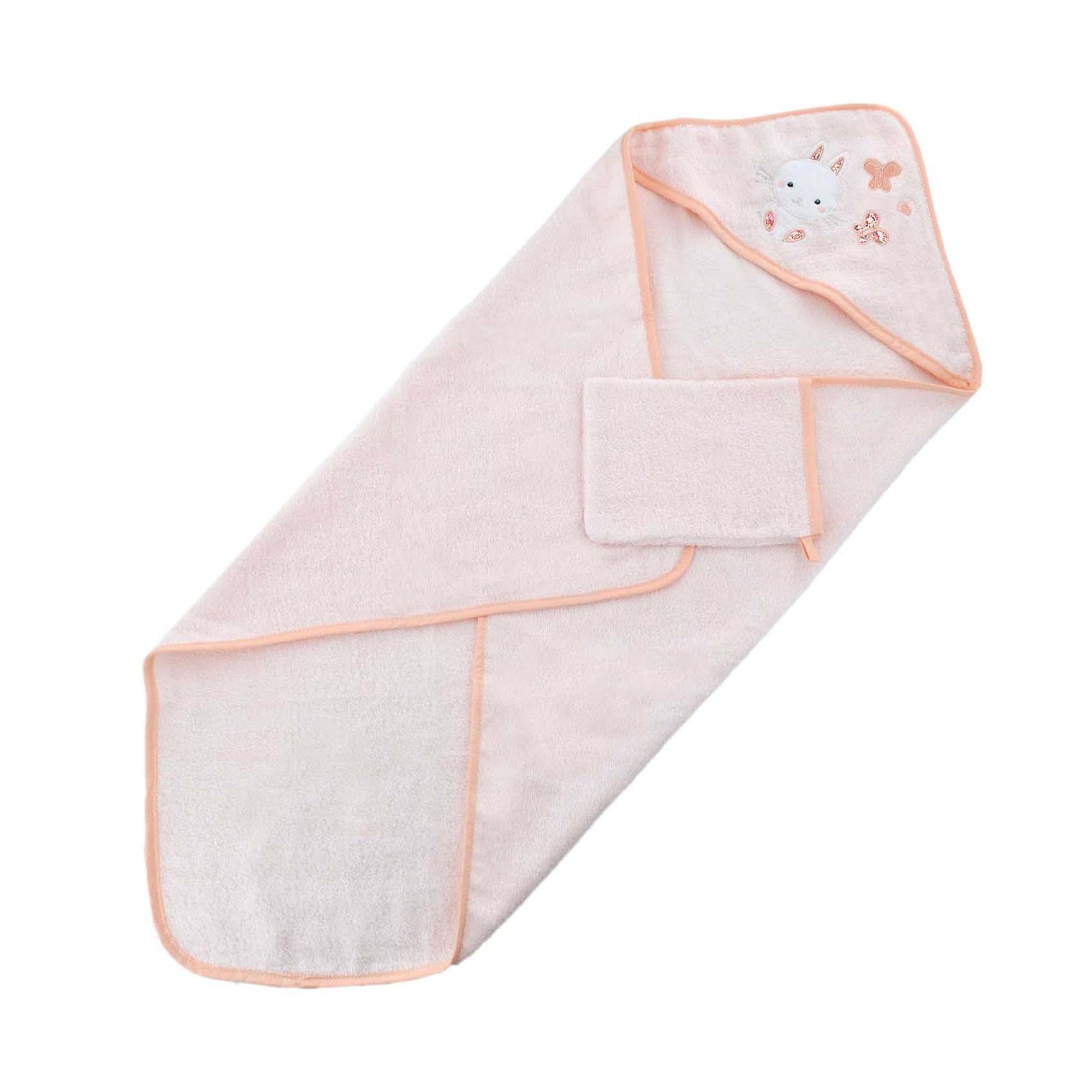 Sortie de bain avec gant lapinou coton rose 75x75