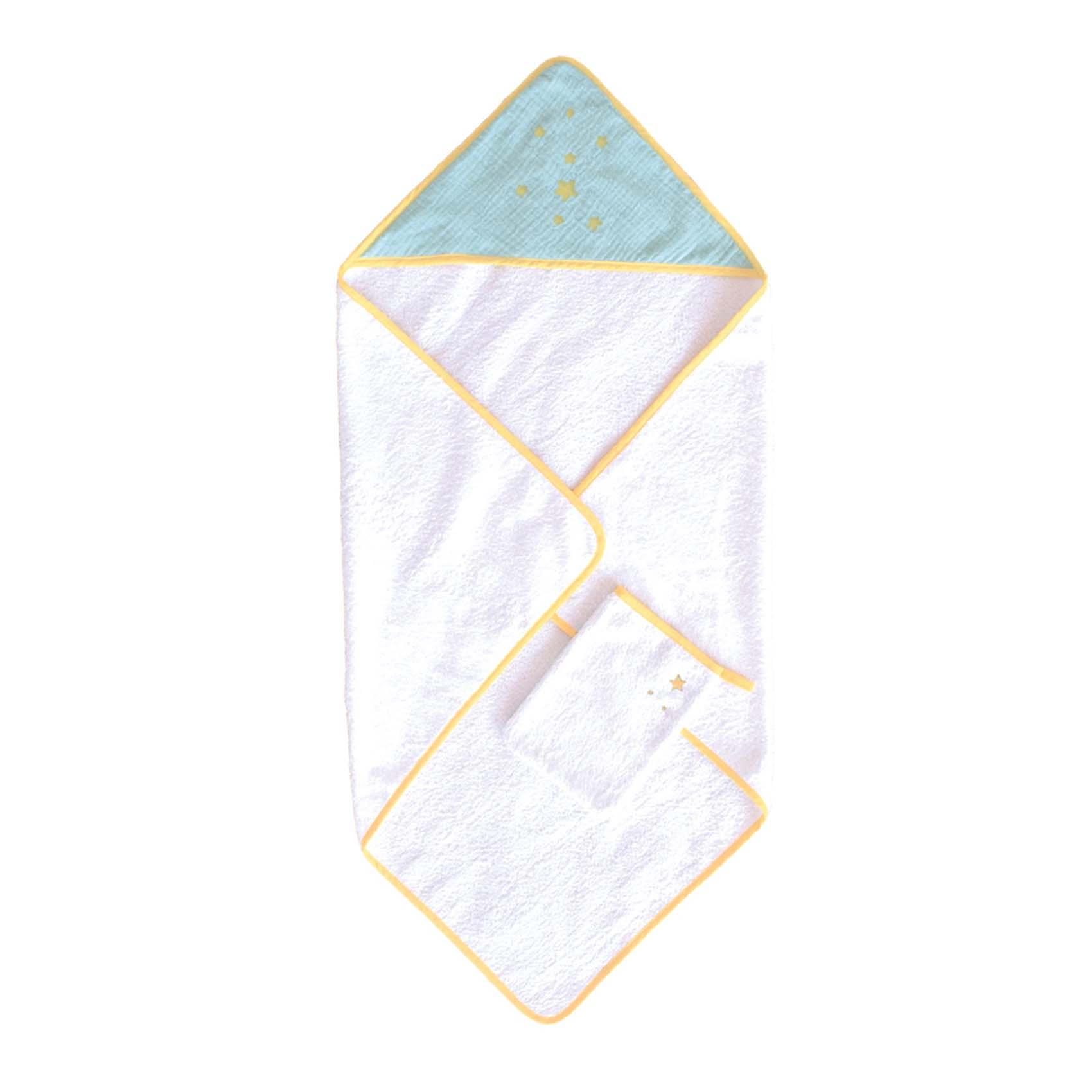 Sortie de bain avec gant demi lune coton anis/gris 75x75