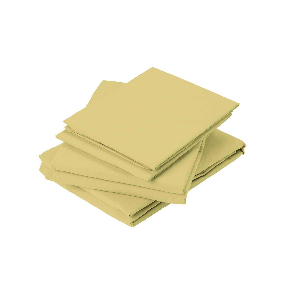 Drap plat en coton lavé coton cardamome 290x180