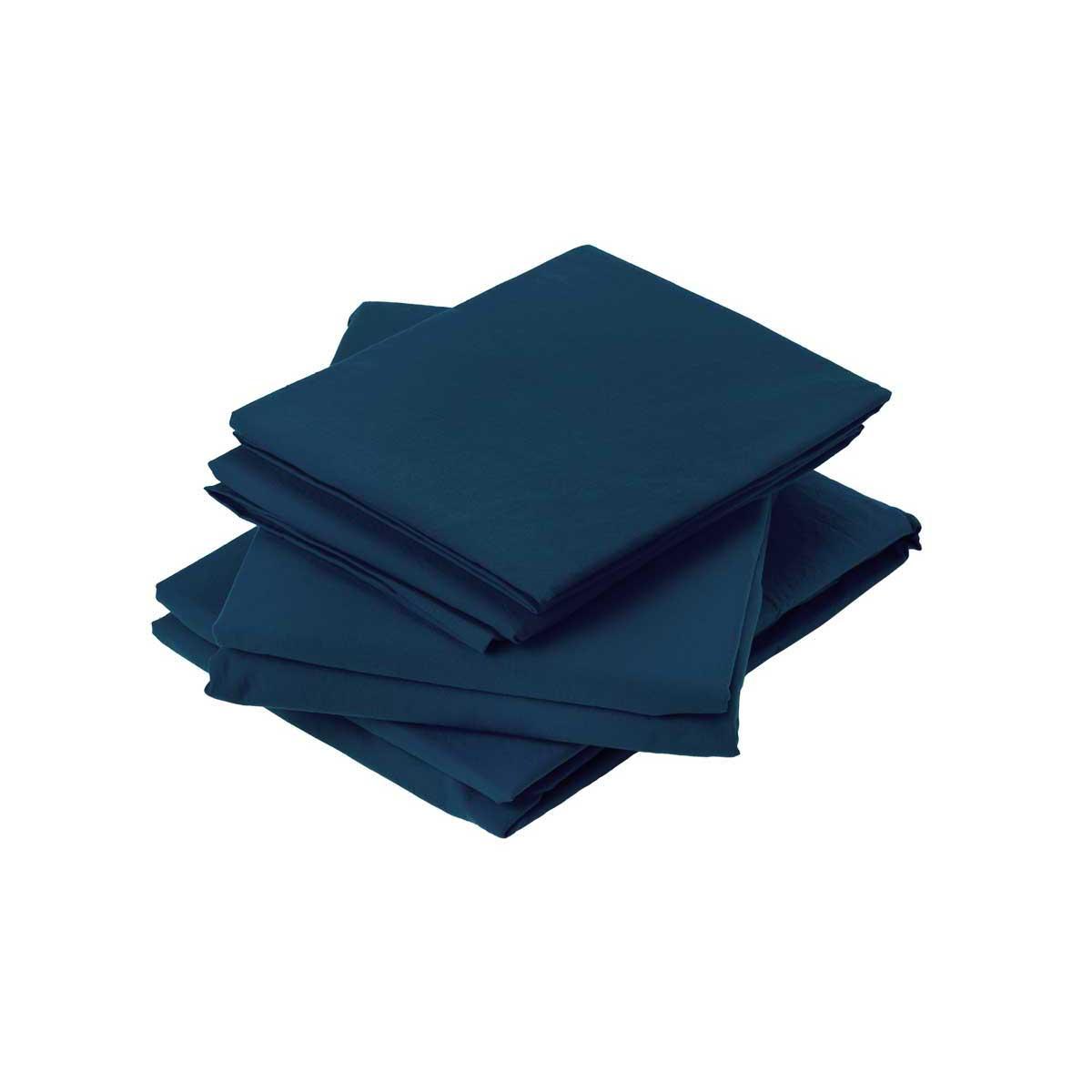 Drap plat en coton lavé coton minuit 290x180