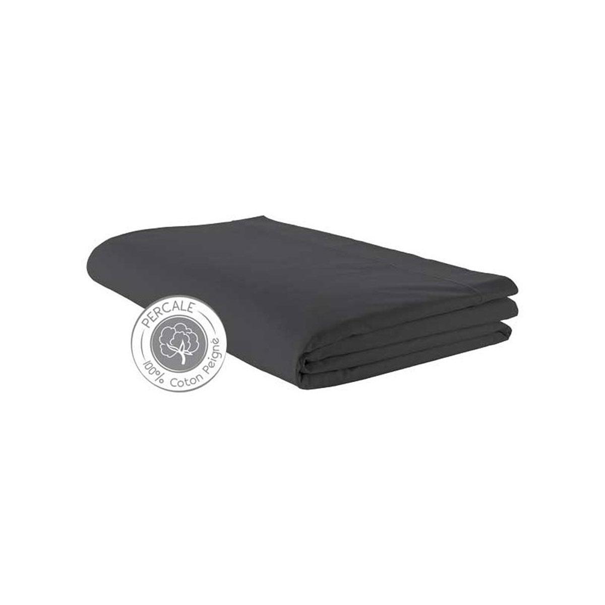 Drap percale 280x325 cm uni coton anthracite 325x280