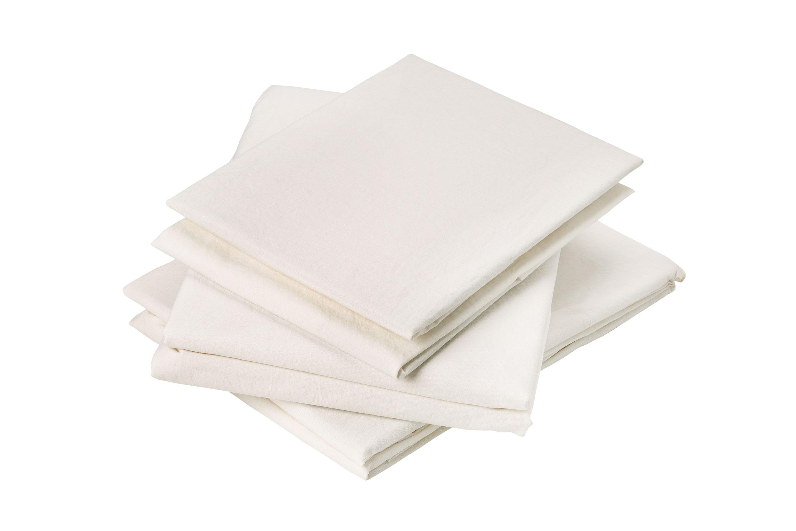 Drap plat en coton lavé coton craie 290x180