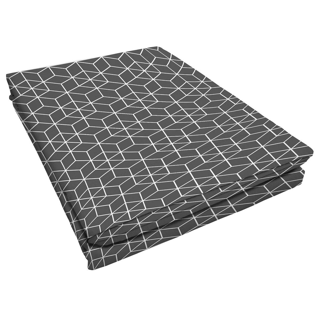 Drap plat à motifs graphiques / une personne coton anthracite 290x180