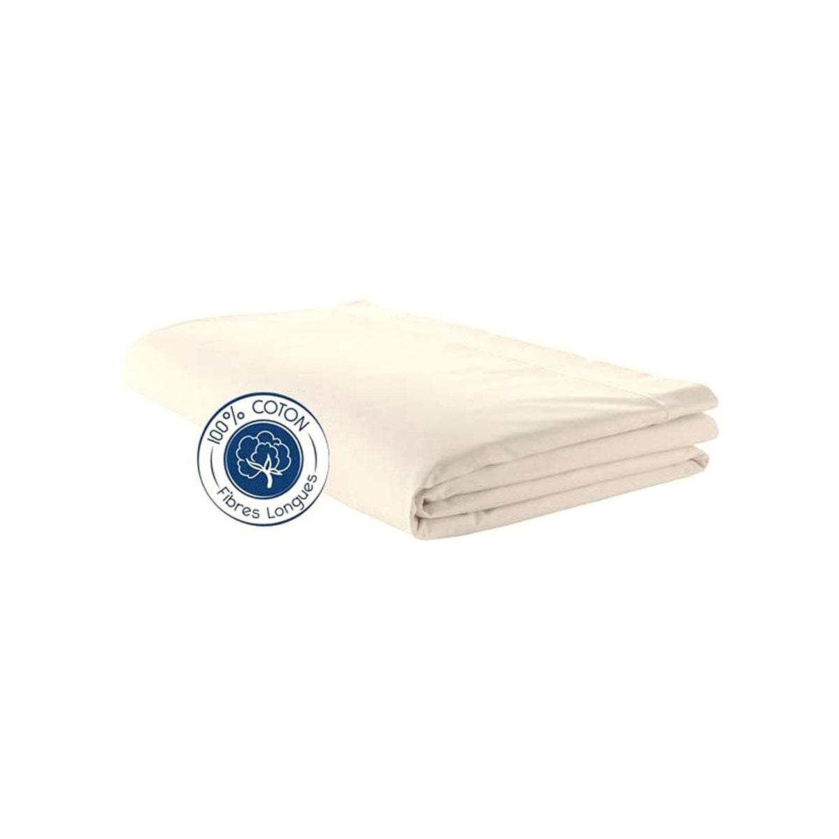 Drap percale 280x325 cm uni coton beige 325x280