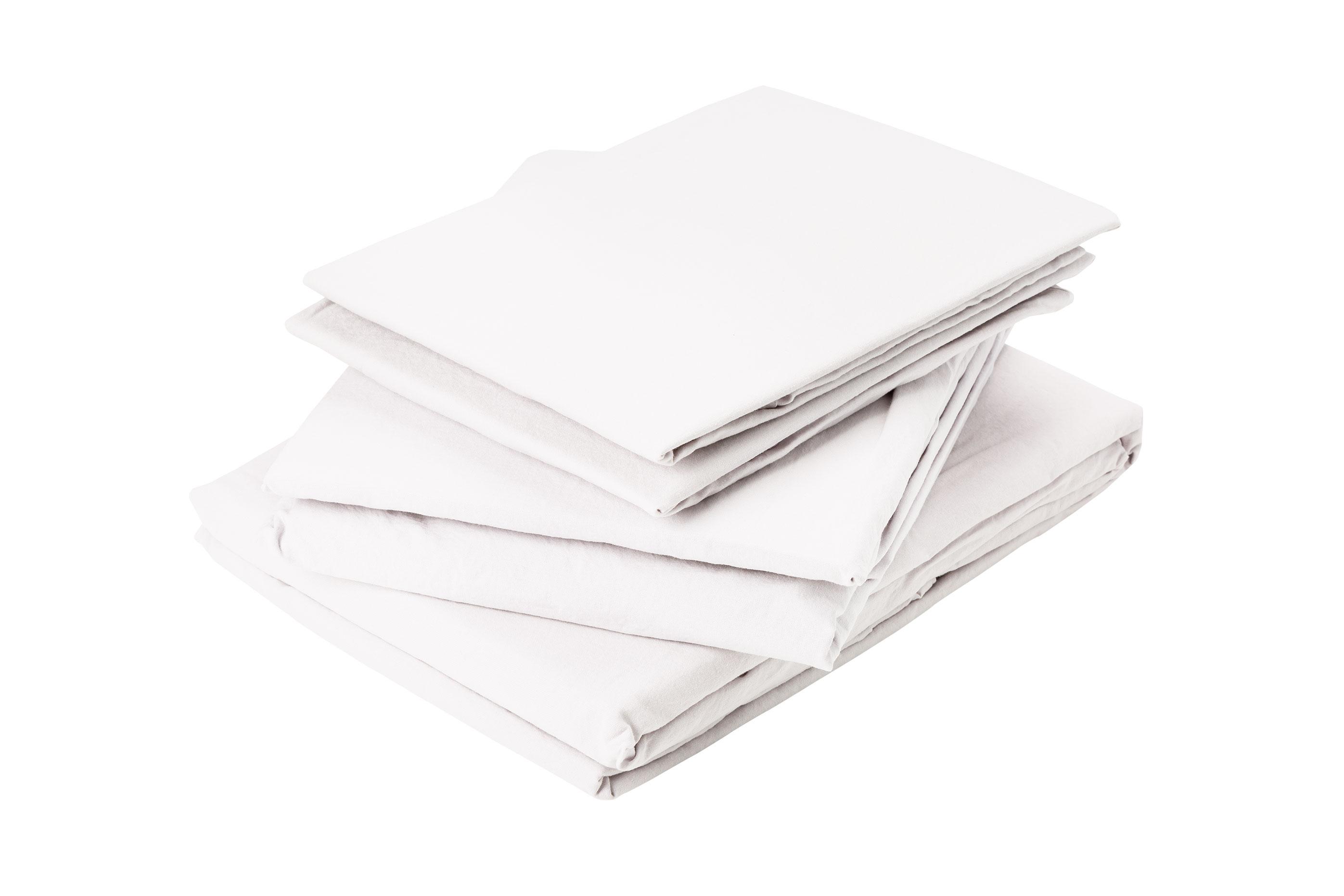 Drap plat en coton lavé coton blanc 290x180