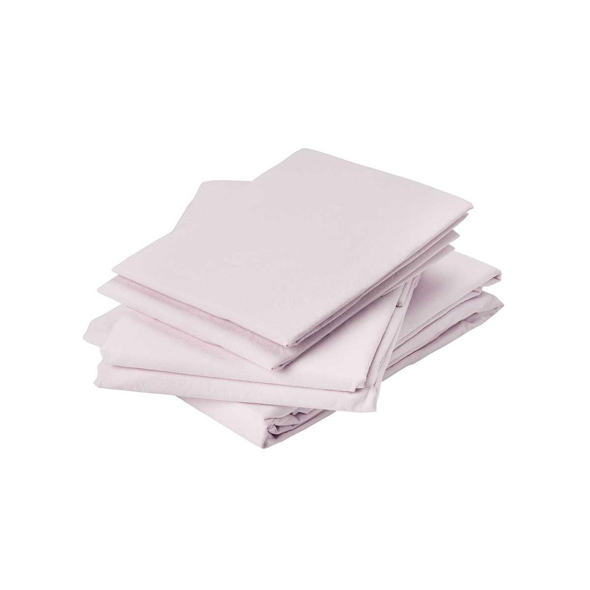 Drap plat en coton lavé coton rose 290x180