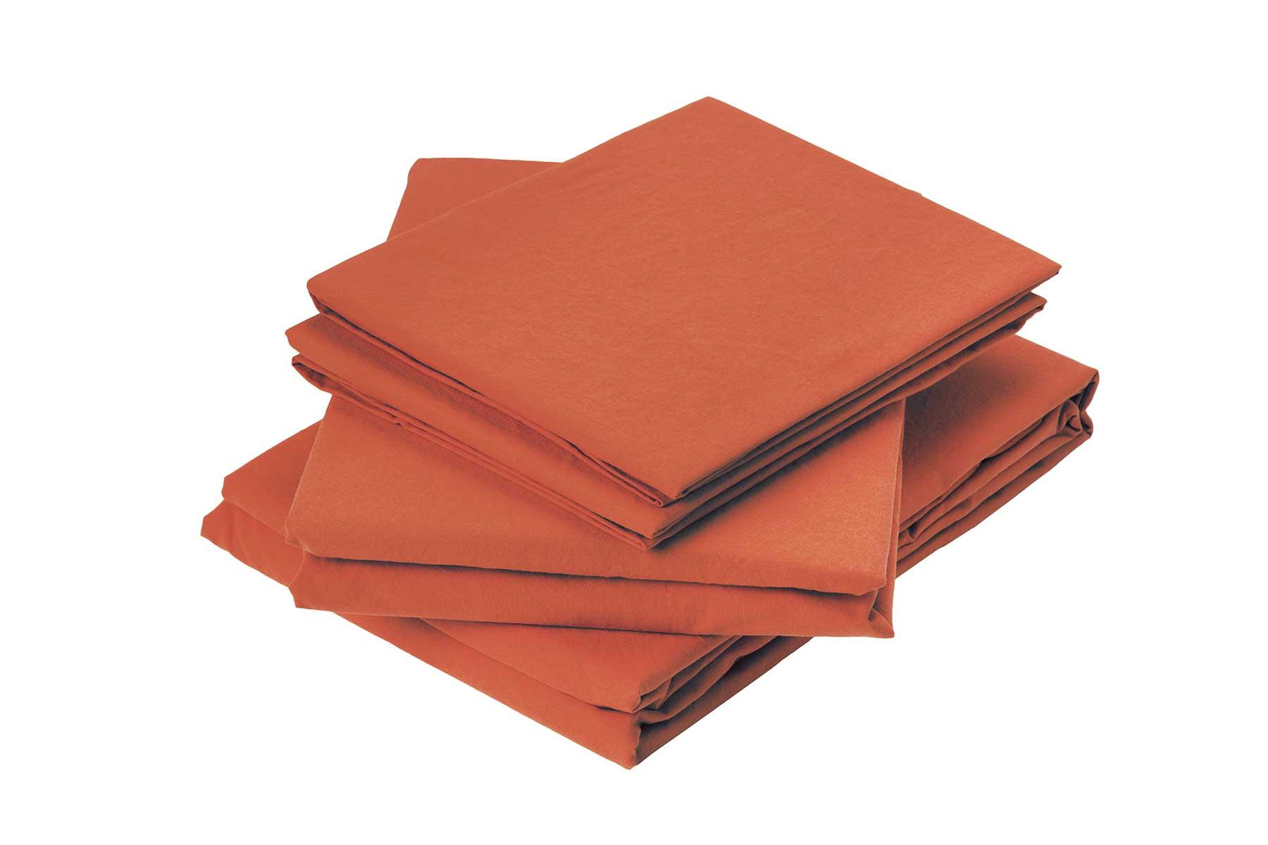 Drap plat en coton lavé coton gingembre 290x180