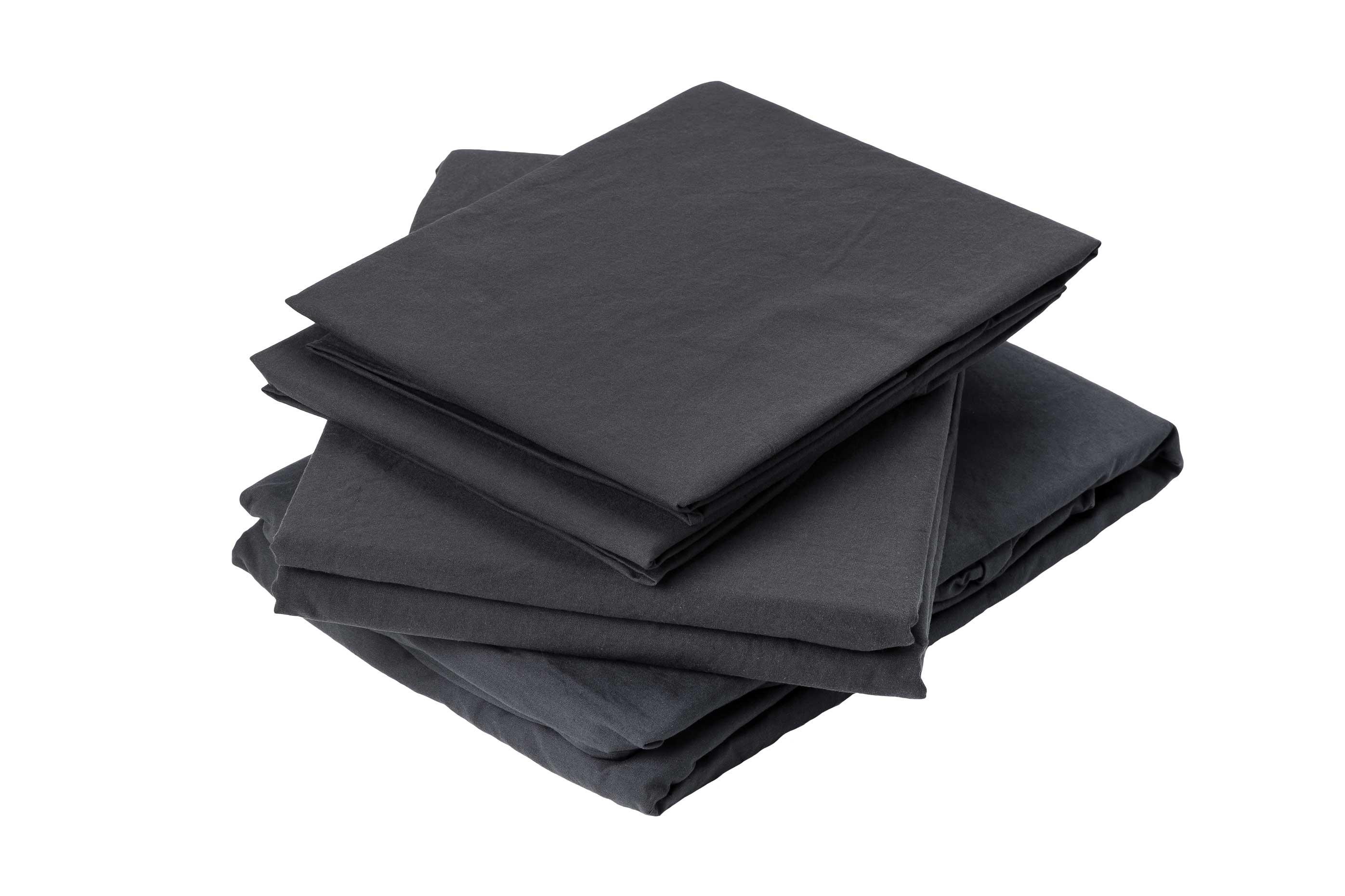 Drap plat en coton lavé coton plomb 290x180