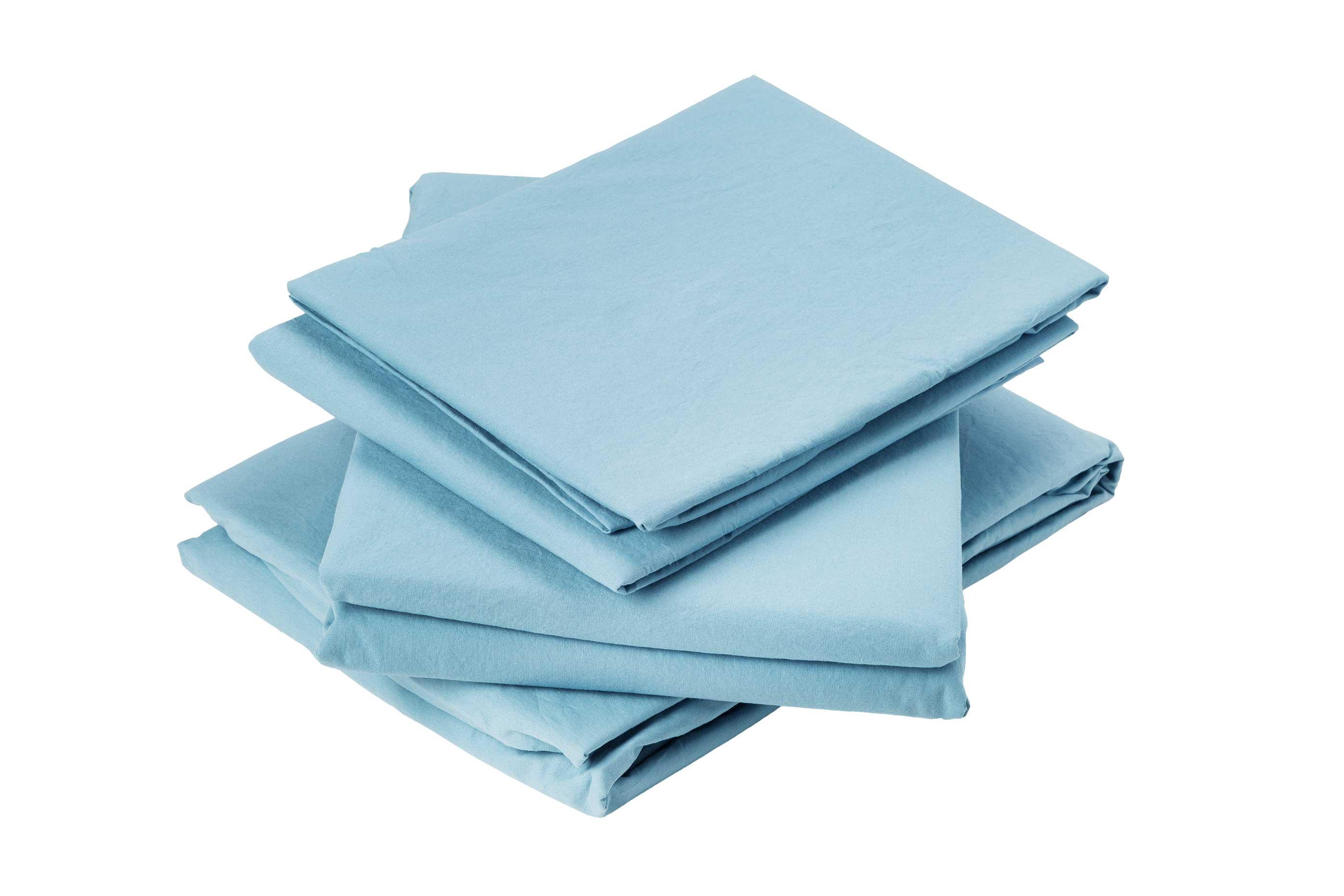 Drap plat en coton lavé coton bleu 290x180