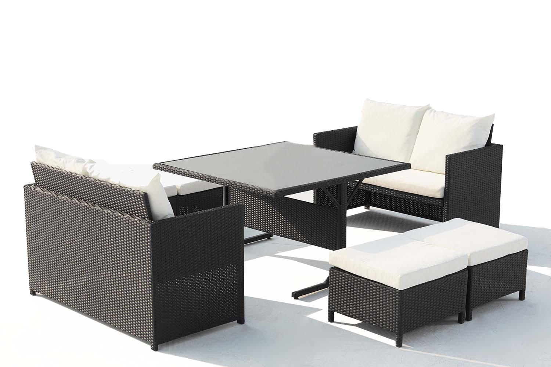 Salon de jardin encastrable 8 places en résine noir/blanc
