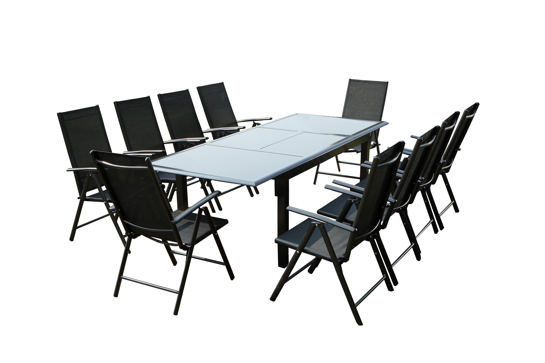 Table de jardin et 10 chaises en aluminium gris