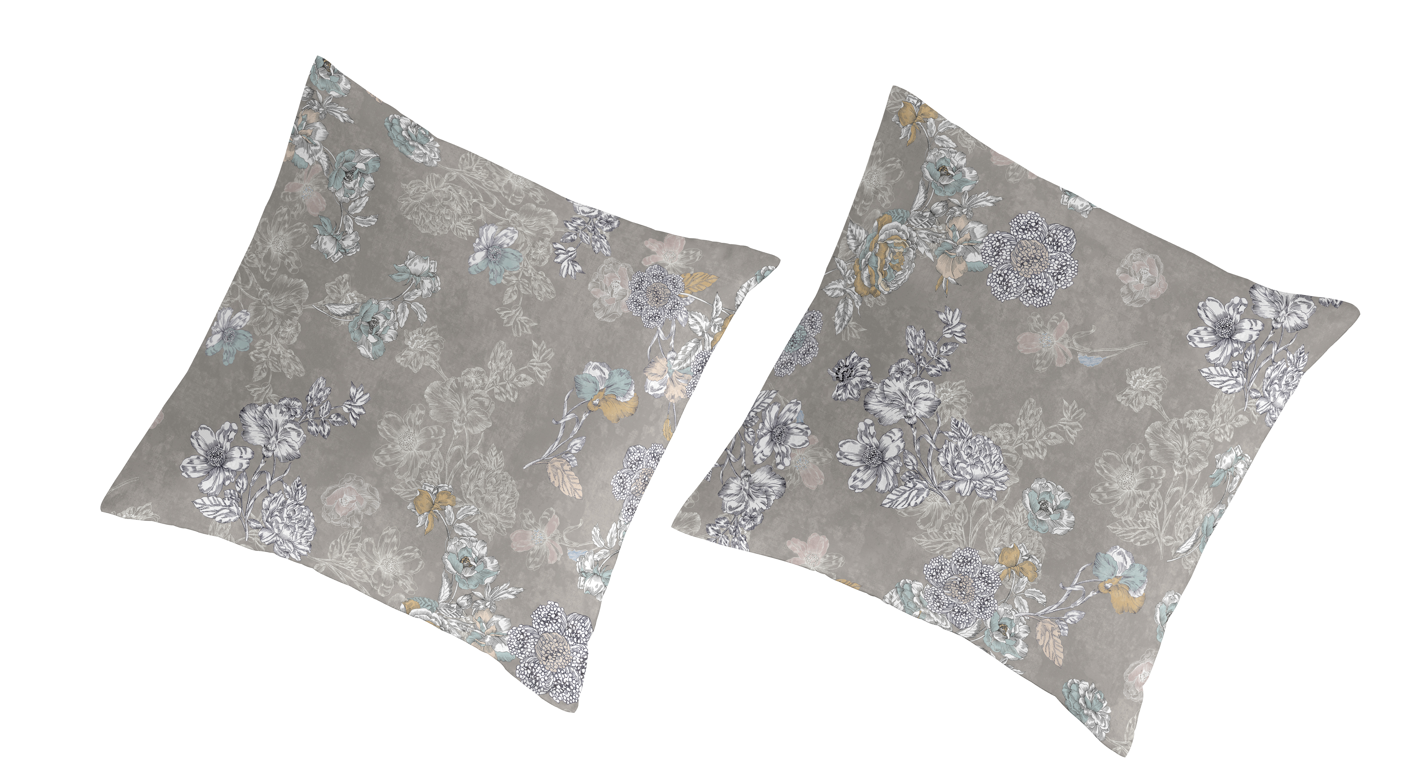 2 taies d'oreiller en coton bicolore 65x65